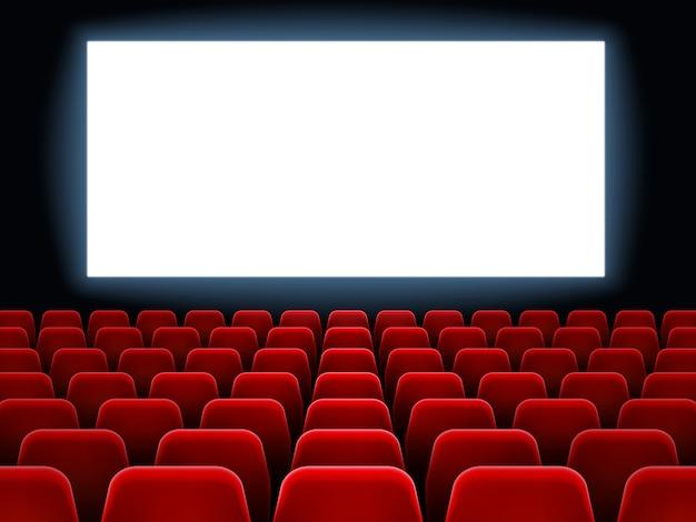 Movie premiere event at cine theatre. cinema white blank screen at dark movie hall interior with empty red seats vector background