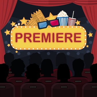 Movie premiere flat concept creative concept illustration