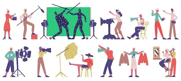 영화 제작. 영화 제작 과정 벡터 일러스트레이션 세트에서 영화 촬영 촬영 장소, 배우 및 영화 감독. 영화제작진