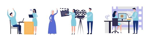 영화 제작 개념. 영화를 만드는 평면 남성 여성 캐릭터. 스크립트, 촬영, 포스트 프로덕션 일러스트레이션.