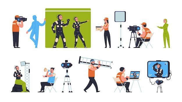 Movie production. film making scenes with actors director and camera man, film crew shooting on green screen and on location. vector illustration set location cinema productions makers