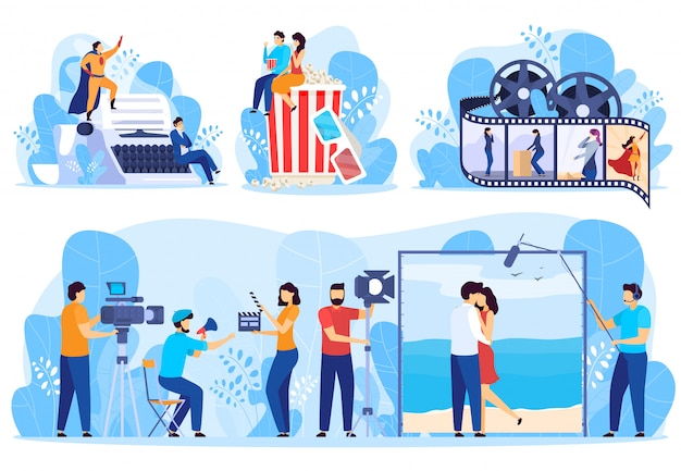 Процесс производства фильмов от сценария до кино, иллюстрации