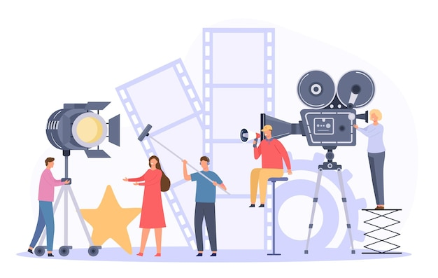 Movie production team shooting film actor on camera. flat cinema director and crew record video scene. movie making industry vector concept. professional staff with equipment, backstage
