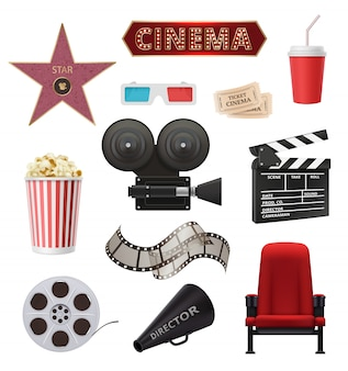 Movie realistic. cinema objects camera camcorder film tape clapperboard  collection