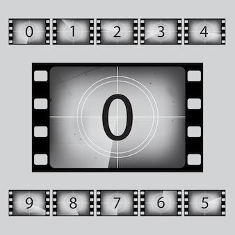 Набор номеров ретро обратного отсчета кино.