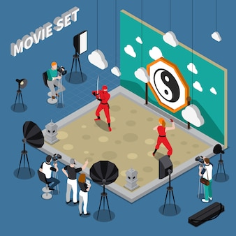 Movie set isometric illustration