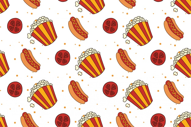Movie snacks seamless background
