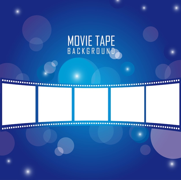 Movie tape over blue background vector illustration