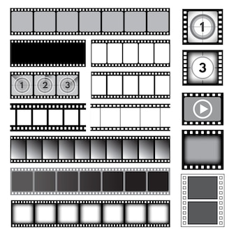 Movie tape. photo strip film camera frames picture  collection. cinema reel frame template, photo strip image film, video and media illustration Premium Vector