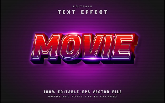Movie text effect with red gradient