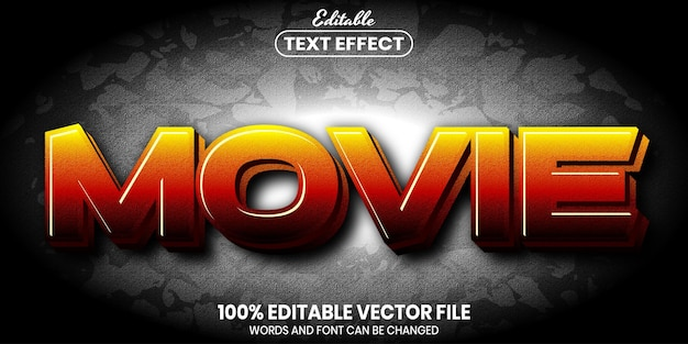 Movie text, font style editable text effect