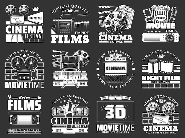 Movie theater, cinema film reel, camera, popcorn