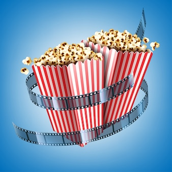 Movie theater flyer with film strip and popcorn in striped paper boxes. realistic illustration of white and red buckets with pop corn and cinema tape on blue background