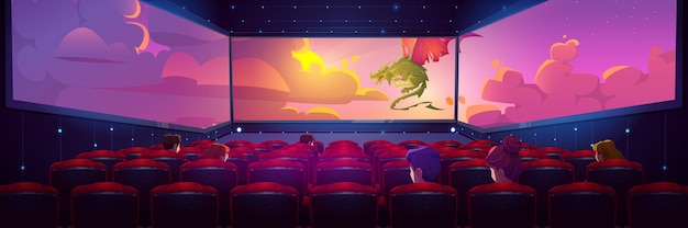 Зал кинотеатра, в котором люди смотрят фильм на трехстороннем панорамном экране.