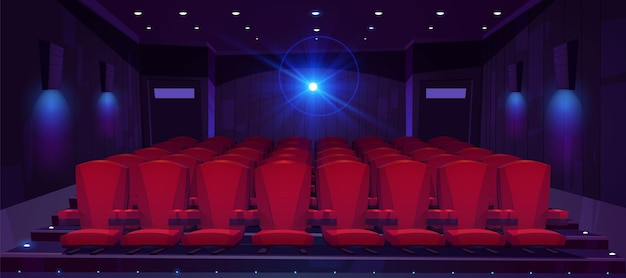 Movie theater hall with seat rows for audience and cinema projector