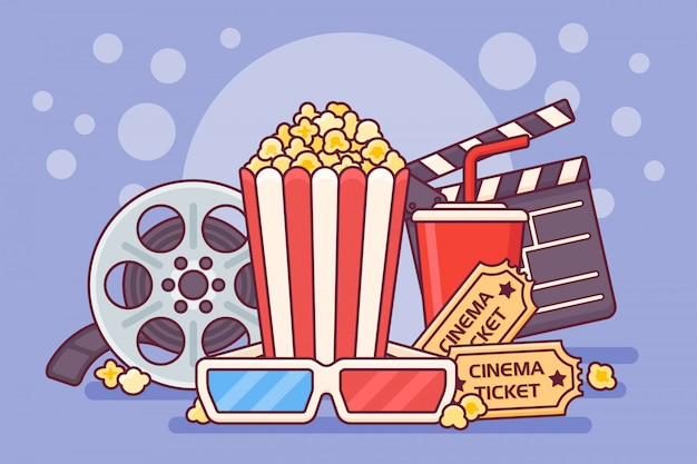 Афиша кинотеатра с попкорном, с 'хлопушкой', газировкой, билетами, 3d очками и кинолентой. кино баннер дизайн.
