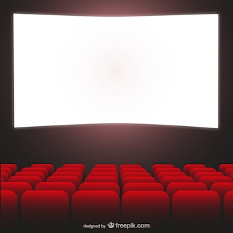 Movie theater red seats and cimena screen