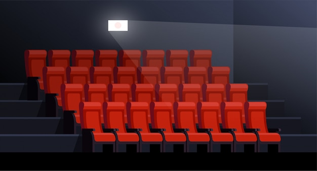 Movie theater vector illustration. empty seats in picture palace. cinema interior