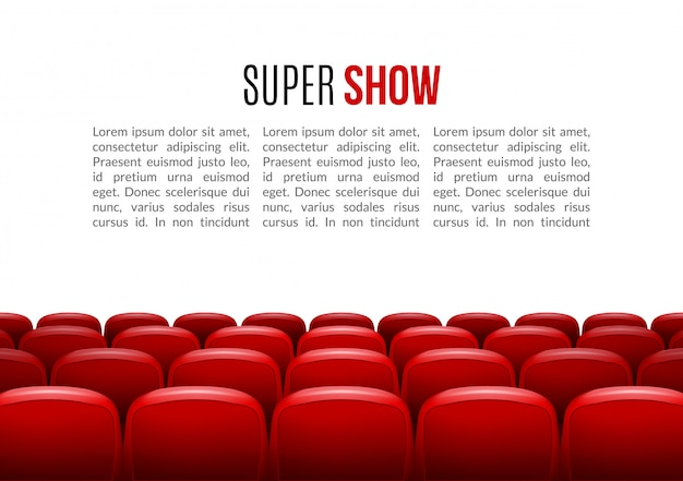 Movie theater with row of red seats background template