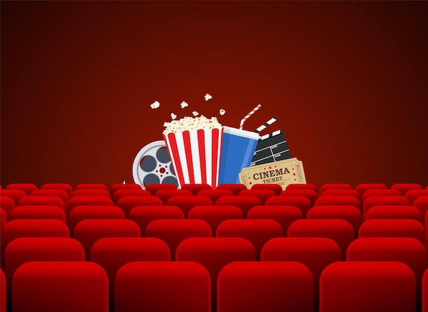 Movie theater with row of red seats clapperboard, soda and popcorn and ticket movie