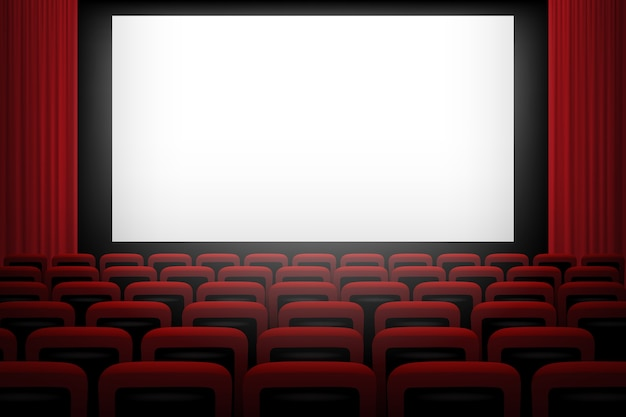 白い画面の赤いカーテンと椅子の映画館の背景。