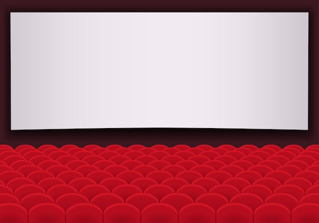 Movie theatre with rows of red seats and blank white screen. cinema auditorium hall.
