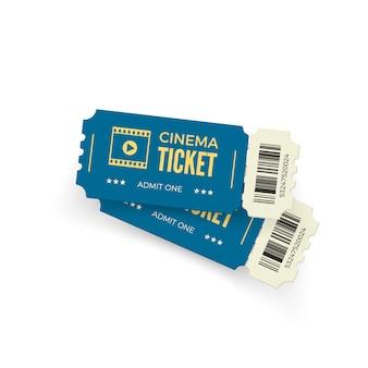 映画のチケット。白い背景の青い映画のチケット。現実的な映画チケットテンプレート。図