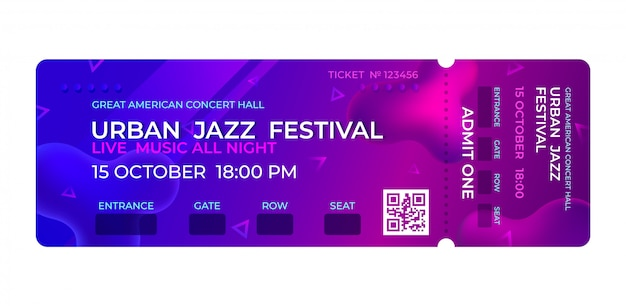 Movie ticket. music concert, party event entrance ticket design. invitation events stub concert template