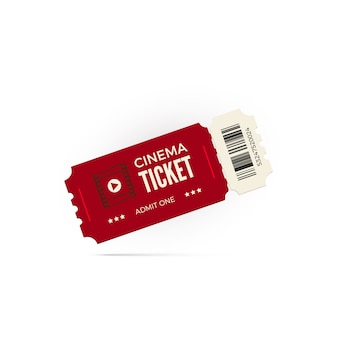 Movie ticket.  red cinema ticket  on white background.  illustration