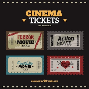 Movie tickets pack in vintage style