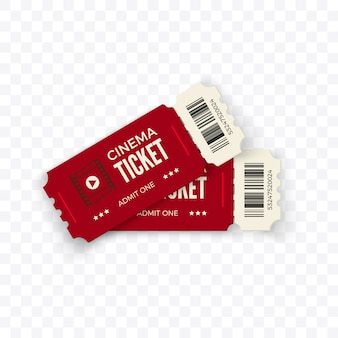 Movie tickets.  red couple cinema tickets  on transparent background.  illustration