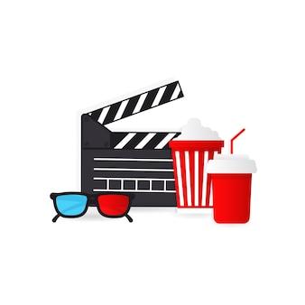 영화 시간과 팝콘 통 및 3d 안경
