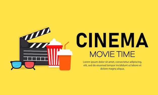 영화 시간 배너. 영화. 영화 산업.