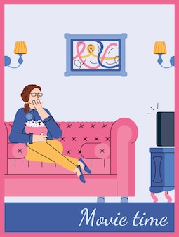 Movie time card with woman watching tv at home cartoon vector illustration