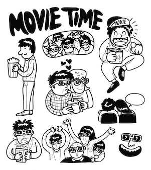 Movie time cartoon doodle