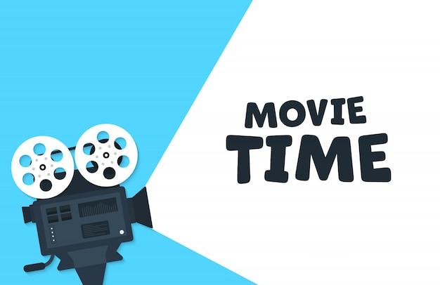映画時間フラットコンセプトの背景。シネマバナーデザイン