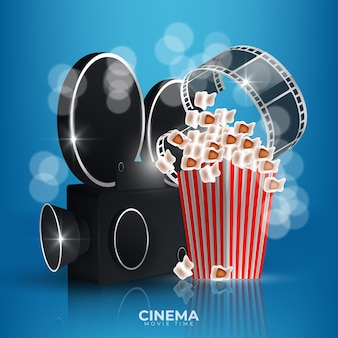 Movie time illustration with popcorn, clapperboard, 3d glasses and filmstrip.