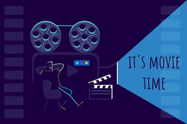 영화 시간 남자 복고풍 카메라에서 영화를 보고 의자에 앉아 영화 배너 디자인 서식 파일