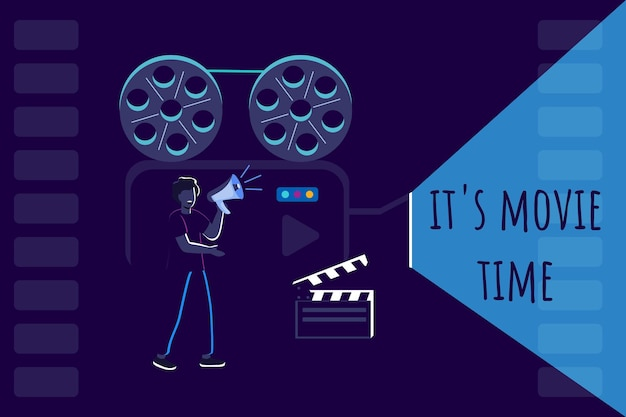 Movie time a man with a loudspeaker controls the shooting process make a movie cinema banner design