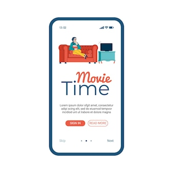Movie time mobile app with cartoon woman watching tv on home sofa. onboarding banner template for cinema website mobile application