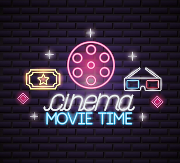 Movie time neon sign sign