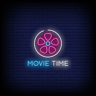 Movie time neon signs style text