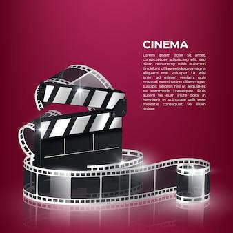 ポップコーン、カチンコ、フィルムストリップと映画の時間ベクトルイラスト。
