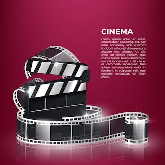 Movie time vector illustration with popcorn, clapperboard and filmstrip.