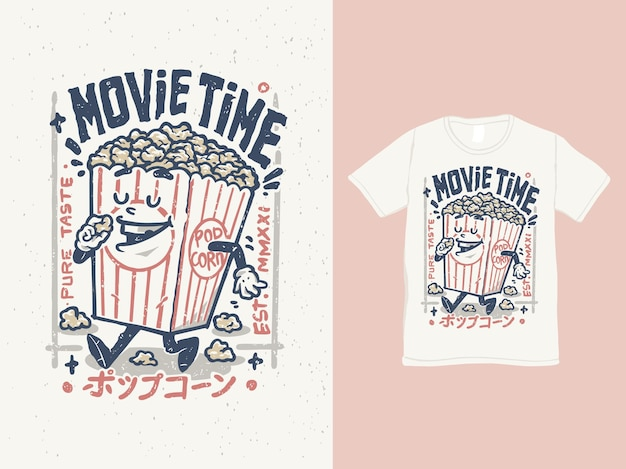 Movie time with a cute pop corn character illustration