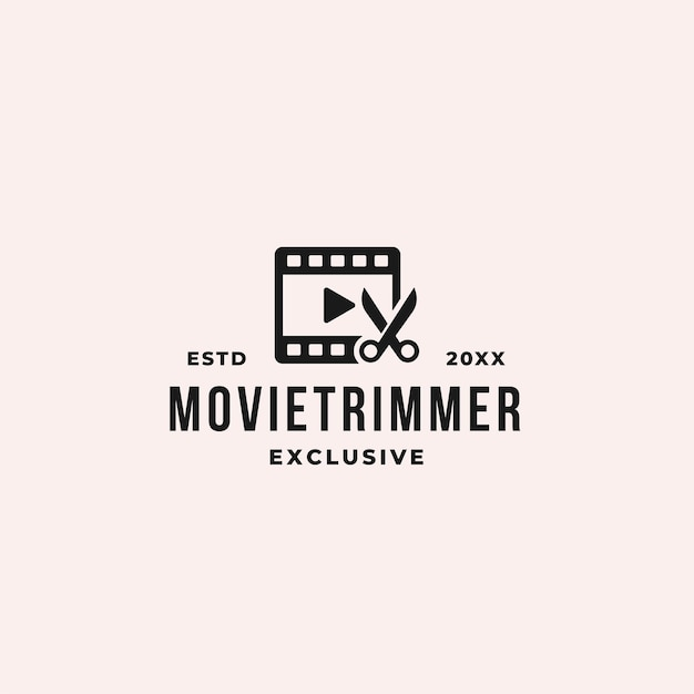 Movie trim and cut logo concept with film strips and scissor for editing and producer