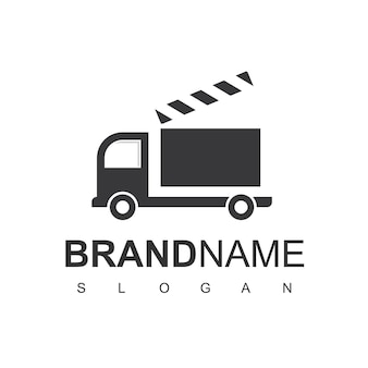 Movie truck logo design vector