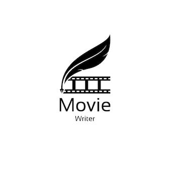 필름 스트립 및 깃펜 로고 디자인을 사용한 영화 작가 영화 영화 제작