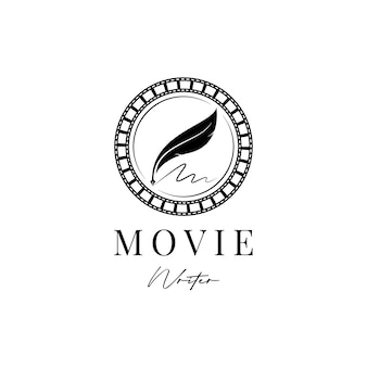 Movie writer cinema film production with filmstrip and quill feather pen logo design