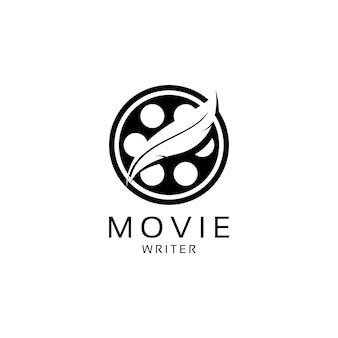 Movie writer cinema film production with quill feather pen logo design